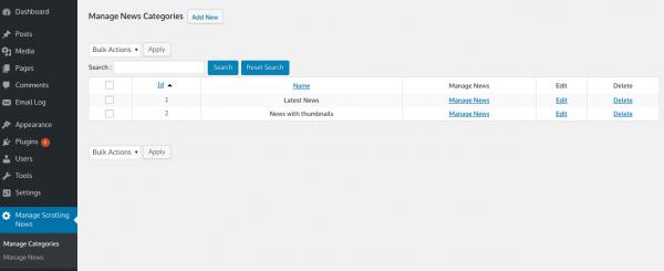 WordPress Vertical News Manage Categories