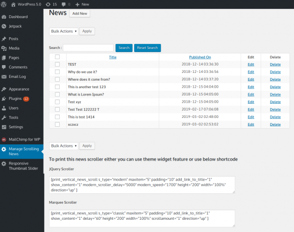 WordPress Vertical News - Manage News